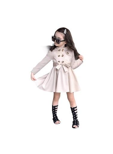 Quzucuk Kids Kız Çocuk Bej Trenç Elbise Bej